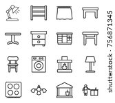 thin line icon set   table lamp ... | Shutterstock .eps vector #756871345