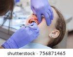 teenage girl at a dentist's... | Shutterstock . vector #756871465