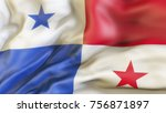 waiving flag of panama | Shutterstock . vector #756871897