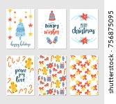 vector set of hand drawn... | Shutterstock .eps vector #756875095