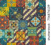 seamless pattern with... | Shutterstock .eps vector #756876139