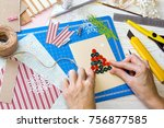 scrapbook background. girl make ... | Shutterstock . vector #756877585