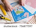 scrapbook background. girl make ... | Shutterstock . vector #756877597