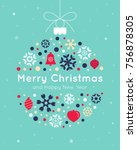 christmas card template with...   Shutterstock .eps vector #756878305
