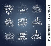 merry christmas icons set... | Shutterstock .eps vector #756878785