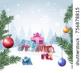 gift boxes in winter forest... | Shutterstock .eps vector #756878815