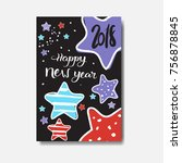 cute happy new year 2018 card... | Shutterstock .eps vector #756878845