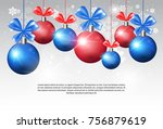 shiny christmas balls with... | Shutterstock .eps vector #756879619