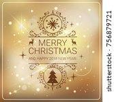beautiful merry cristmas... | Shutterstock .eps vector #756879721