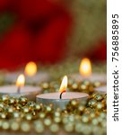 christmas candles with golden... | Shutterstock . vector #756885895