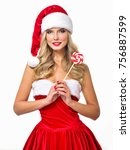 beautiful  girl wearing santa... | Shutterstock . vector #756887599