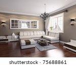 living room modern interior  3d ... | Shutterstock . vector #75688861
