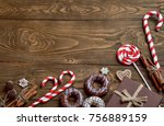 christmas background with... | Shutterstock . vector #756889159