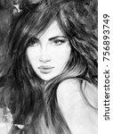 beautiful woman. fashion... | Shutterstock . vector #756893749