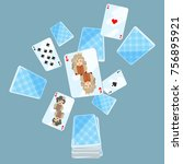 deck of cards messed up on... | Shutterstock .eps vector #756895921