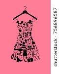 woman dress from accessories. | Shutterstock . vector #756896587