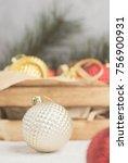 white gold color christmas ball ... | Shutterstock . vector #756900931