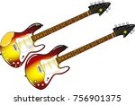 vintage and new electric guitar ... | Shutterstock . vector #756901375