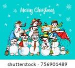 set of winter holidays snowman... | Shutterstock .eps vector #756901489