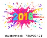 2018 happy new year card.... | Shutterstock .eps vector #756903421