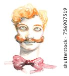 watercolor portrait with big... | Shutterstock . vector #756907519