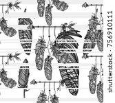 boho stile. seamless monochrome ... | Shutterstock .eps vector #756910111
