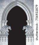 gothic arch with gargoyles hand ... | Shutterstock .eps vector #756922879