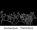vector art drawing of concert... | Shutterstock .eps vector #756923611