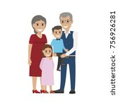 aged couple and grandson with... | Shutterstock . vector #756926281
