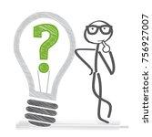 man thinking. light bulb and... | Shutterstock .eps vector #756927007