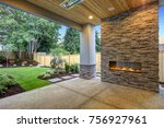 outside patio features natural... | Shutterstock . vector #756927961