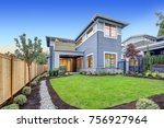 exterior of grey blue craftsman ... | Shutterstock . vector #756927964
