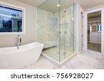 sleek bathroom features... | Shutterstock . vector #756928027