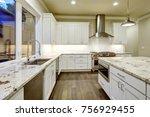 large  spacious kitchen design... | Shutterstock . vector #756929455