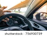 car dashboard with steering... | Shutterstock . vector #756930739