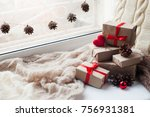 present boxes. home decoration  ... | Shutterstock . vector #756931381