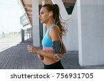 beautiful woman running on... | Shutterstock . vector #756931705