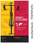 cycling poster vector... | Shutterstock .eps vector #756935191