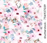 Stock photo watercolor seamless pattern floral print 756937039