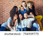 group beautiful young people... | Shutterstock . vector #756939775