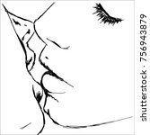 line art sketch of couple kiss... | Shutterstock .eps vector #756943879