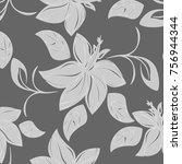 vector seamless pattern flowers ... | Shutterstock .eps vector #756944344