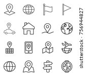 thin line icon set   pointer ... | Shutterstock .eps vector #756944827