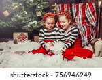 merry christmas and happy... | Shutterstock . vector #756946249
