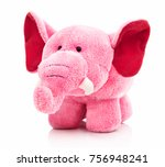 Plush pink elephant toy for...