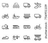 thin line icon set   truck ... | Shutterstock .eps vector #756951109