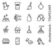 thin line icon set   cleanser ... | Shutterstock .eps vector #756951409
