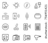 thin line icon set   touch ... | Shutterstock .eps vector #756951421