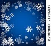winter card border of snow... | Shutterstock .eps vector #756953869