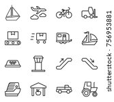 thin line icon set   boat ... | Shutterstock .eps vector #756953881
